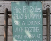 Fire pit Rules campfire rules Backyard decor Typography Word Art Sign