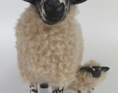 Handcrafted Welsh Beulah Speckled Face Ewe Protecting  Lamb