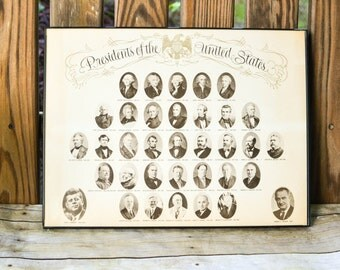 Vintage President's of the United States Wall Hanging, Educational Picture, Portrait of Presidents, Historical Learning Aid