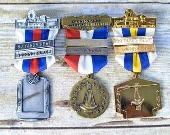 Vintage Shooting Ribbon, 1970s Rifle Club Badge, Gun/Pistol Award/Medal