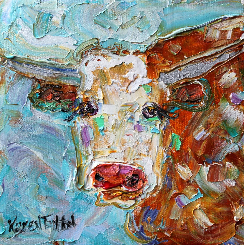 Original Oil Painting Longhorn Palette Knife Impressionism Oil