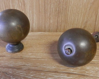 pair of large 3 inch vintage brass balls steam punk, mixed media, sculpture