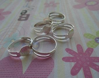 20pcs Adjustable Silver Ring Blanks 8mmx8mm