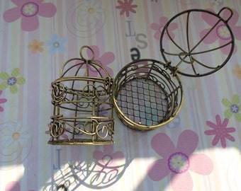 1pcs antique bronze bird cage findings 75x45mm