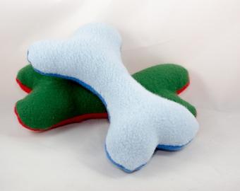 Stuffed Dog Bone Toy, squeaky, handmade, puppy, fleece, animal, squeaker, pet toy, plush, stuffed