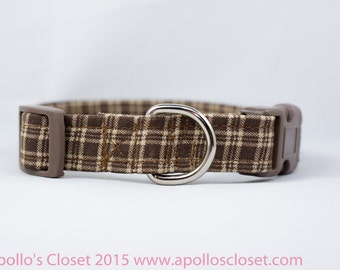 Brown Plaid Dog Collar, 5/8, 3/4, or 1 inch wide, available in 4 sizes, tan, small, medium, large, XL, XXL, striped, boy collar, tan neutral