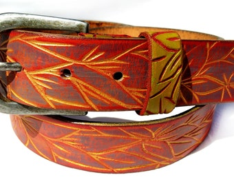 Tree leather belt women - Red belt with golden Lines - wide Leather  belt - Handcrafted Leather Belt - custom leather belts -
