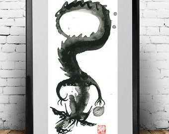 Dragon Painting, Chinese Zodiac, Year of the Dragon, Zen Art Sumi Ink Original Painting, zen meditation decor, yoga art, taoist art scroll