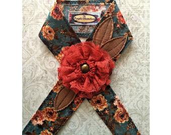 Lace and Floral Headwrap in Rust Cream Peach Burnt Orange Blue Green Floral Headband Tichel Sash Headcover Tie on Headband Woodland