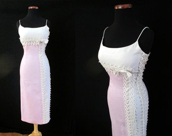 """CLEARANCE Lovely 1950's Designer Lavender White  Cocktail Hourglass Party Dress w/ Applique Lace & Rhinestones by """"Jerry Gilden"""" Size-Small"""