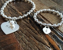 Mother Daughter Bracelet Set, Sterling silver bracelet, silver hearts,  mom bracelet , mother daughter jewelry, baby jewelry, jewelry gift