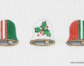 Mini Christmas Bells Holly Needlepoint Ornaments - Jody Designs #BLM4