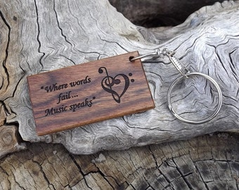 Wooden Key Chain - Key Ring - Premium Quality - Handmade - Made With Caribbean Rosewood - Laser Engraved Both Sides - Music Lovers Theme