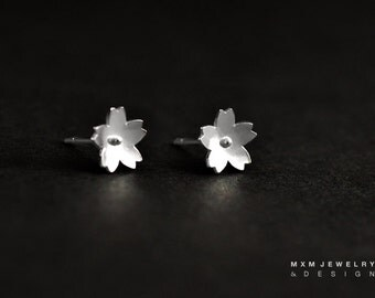 Sakura / Cherry Blossom Flower Stud Earrings