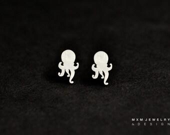 Sterling Silver Little Octopus Stud Earrings