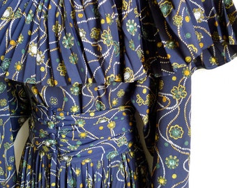 SALE Cacharel 80s dark navy dress with jewelry pattern of beads and brooches