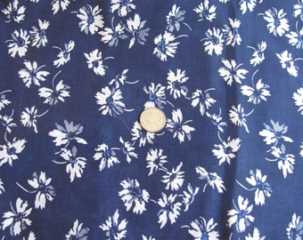 """Vintage White on Dark Blue  Cotton Floral Fabric - 48"""" Wide Selling by the Yard - Stiff Fabric Perfect for Curtains and such"""
