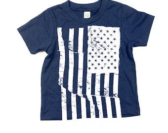 Kids Shirt - American Flag Tshirt  - Eco-Friendly - Organic - Navy Blue -Toddler - Small, Medium, Large - Boy - Girl