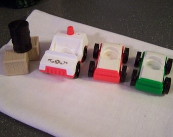Vintage Fisher Price Little People Trucks, 1970s-80s, Green Car, 2 Red Cars + Pieces