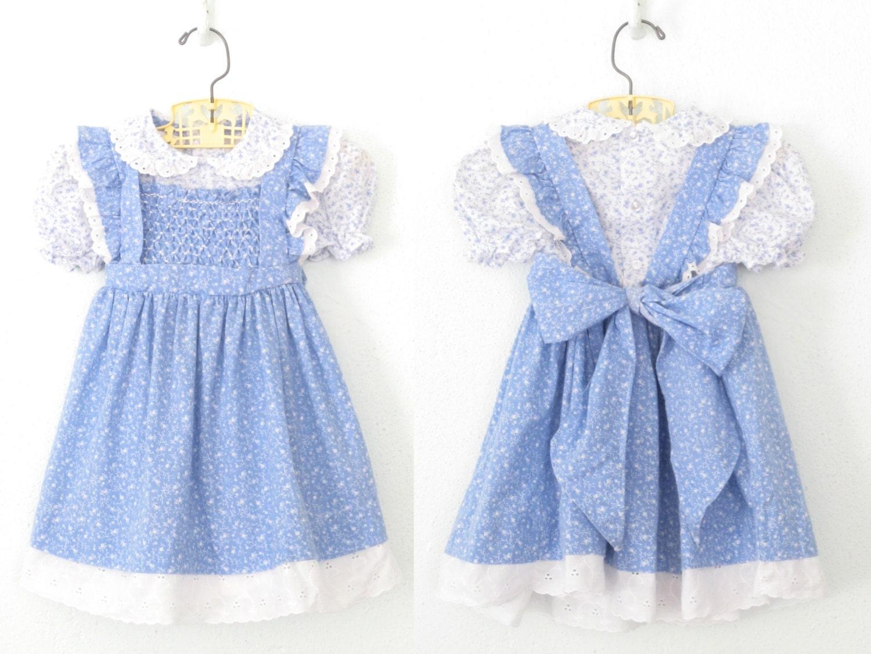 Vintage Baby Dress Blue Smocked Dress Pinafore Apron
