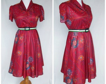 1970s Does 1940s Dress, Polyester, Tulip Sleeve, Small, Floral Pattern, Queens Row