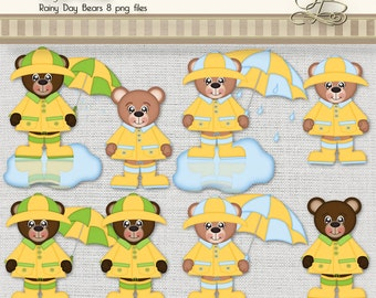 Rainy Day Bears 8 digital png files for scrapbooking, card making, digital and paper crafts