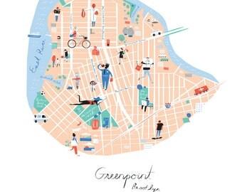 Greenpoint, Brooklyn Map Print