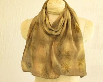 "Silk Scarf - Eco Fashion - Plant Dyed Ecoprint - Natural Dye - Brown Taupe Brass Buff Green - CDC051504 -  11""x57"" (28 x 144cm)"
