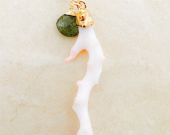 Gold Dipped White Angel Skin Coral and Moss Aquamarine Necklace