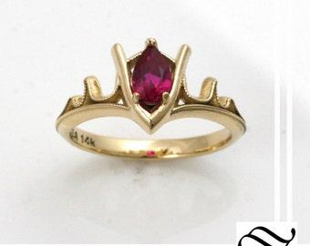 gorons ruby legend of zelda geeky engagement ring 14k gold - Zelda Wedding Ring