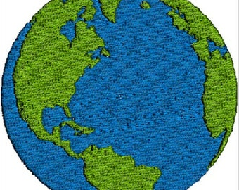 Earth Embroidery Design for Machine Embroidery Instant Download 3 Sizes