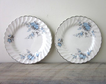 Ironstone Cake Plates with Blue and Grey Flowers by Johnson Bros. Set of Two