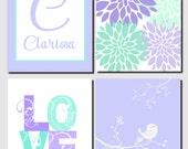 Printable Nursery Art Lavender Mint Purple Wall Art Initial Name Personalized Nursery Decor Floral Bird Love Baby Girl Nursery, Set of 4
