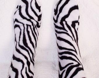 Zebra Fleece Socks, Ladies Warm Socks, Women's Bed Socks, Warm Fleece Winter Sox, Dance Warm Ups, Year Round Socks, Gift for Her, Warm Sox