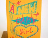 New Baby Girl Hand Printed Card