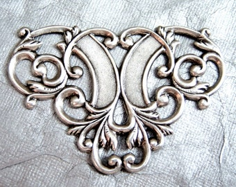 Antique silver plated Victorian style triangular connector -MJ100