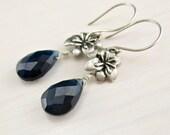 SALE! Sapphire Blue Earrings, Blue Quartz, Sterling Silver, Hibiscus Flower Earrings, Navy Blue Gemstone Dangle Earrings Dark Blue Stone