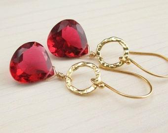 SALE! Hot Pink Gold Dangle Earrings, Hot Pink Quartz, Bright Pink Gemstone, Hammered Gold Vermeil, 14K Gold Filled Quartz Gemstone Earrings