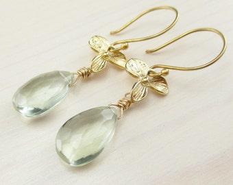 Natural Green Amethyst Earrings, Gold Prasiolite Earrings, Vermeil Orchid Flower, Green Gemstone Dangle Earrings, February Birthstone
