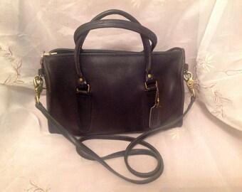 Vintage Coach 80s NYC Speedy Shoulder/ Handbag Old Navy Blue Color Classic Tradional Fashion Wear