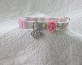 Shabby Chic  Cat Collar with heart  Cat  Breakaway Collar Custom Made