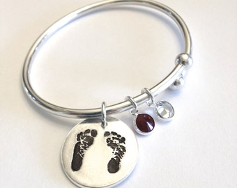 YourChild's Footprints Baby Foot Prints Silver Cuff Bracelet with removable threaded ball ends so that you can add more charms Made to Order
