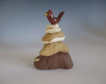 Ceramic sculpture Bird Stone Cairn stacked rocks Moment of Zen