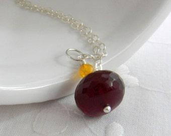 Pendant Necklace School Spirit Jewelry Marroon and Orange Necklace VT Hokies