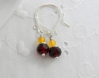 School Spirit Jewelry Marroon and Orange Dangle Earrings VT Hokies Earrings