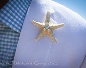 Unique Starfish Boutonniere w/ SWAROVSKI Crystal Accent - Beach Chic Wedding - Beach Wedding Lapel Pin 35 Swarovski Crystal Colors