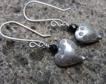 Hill Tribe Silver and Black Onyx Dangle Earrings