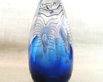 Art Glass , Egg , Adam Jablonski , Polish Art Glass , Blue , Art , Paper Weight , Signed Original , Vintage Art Glass , Glass , Hand Blown