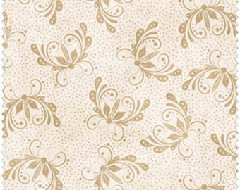 Tan Floral on Ivory 100% Cotton Quilt Fabric Blender for Sale, FWDQUG05-WT, Material by the Yard, Fat Quarters