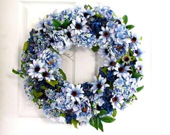 Blue Wreath * Spring Wreath * Floral Wreath * Front Door Wreath * Summer Wreath * Summer Decor * Shabby Chic Wreath